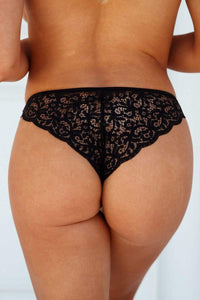 Black Floral Lace Cheeky Briefs