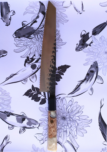 The Serrated Knife - White Handle - Koi Knives