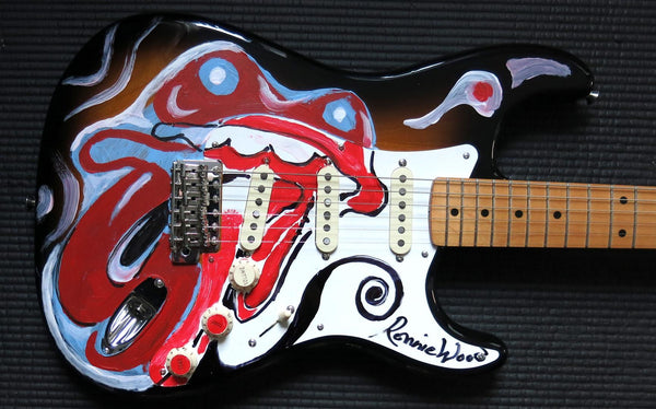 "Hand Painted ""Tongue"" Fender Guitar"