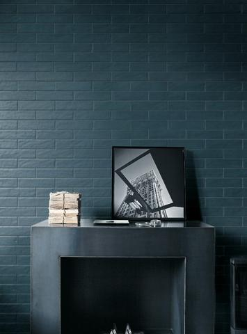 Boston Petrolio wall tile blue on fireplace