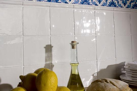 Clasico tile in white gloss from Pental on a backsplash wall