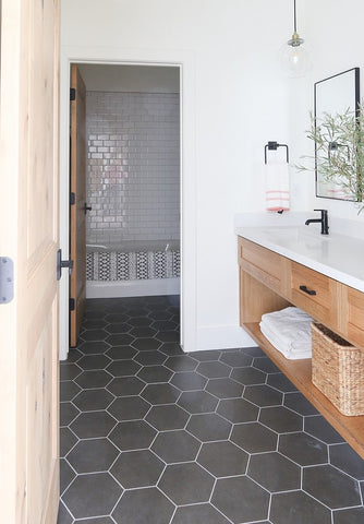 Hexagon floor charcoal tile in small bathroom