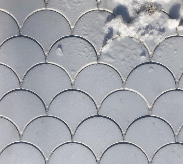 Thassos marble Ztile eclipse mosaic with snow