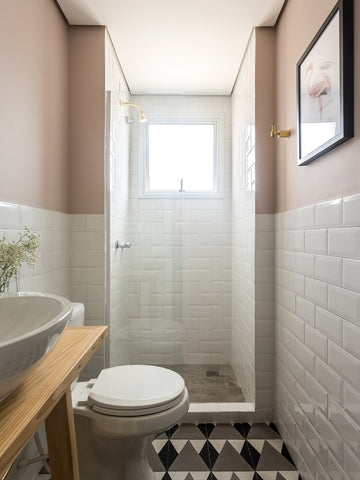 bevel subway tile white in small bathroom with patterned floor