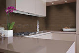 Earth 4x16s with Desert glass mosaic in kitchen as backsplash