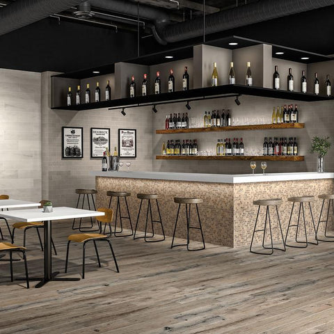 modern wine bar with wood look tile throughout