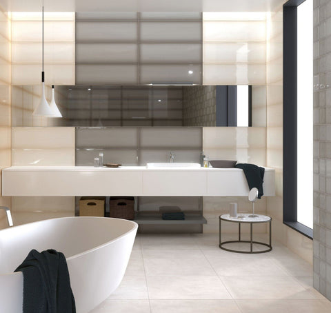 large grey and white bathroom tile in a modern bathroom