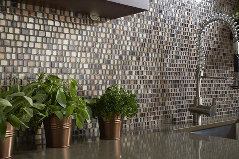 glass mosaics tile in shades of brown as a kitchen backsplash