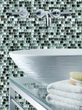 silver glass mosaics tile as bathroom wall with sink