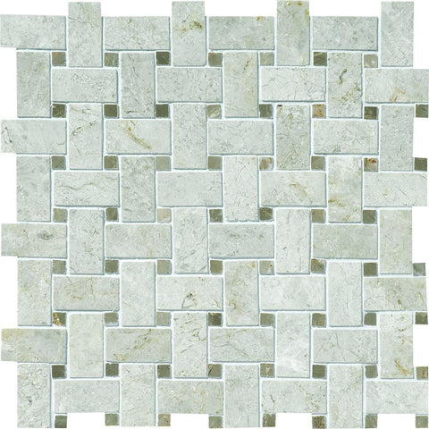 close up detail of basketweave mosaic tile in limestone, alternating colors