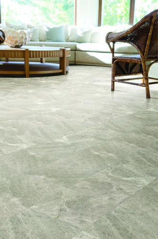 large grey limestone tiles on floor