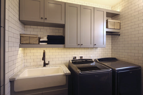 arctic white daltile subway 3x6 in a laundry room with modern appliances