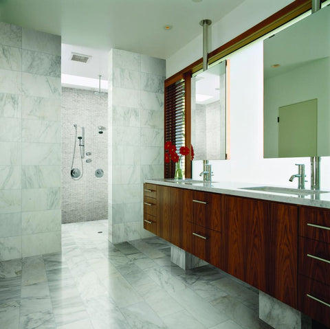 first snow field tile shown in large bathroom