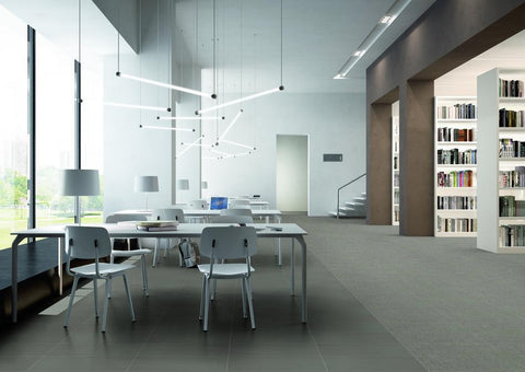 large grey porcelain tile on a library floor