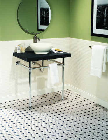 Classic bathroom with Daltile Keystones windmill on the floor and Arctic White squares on the wall.