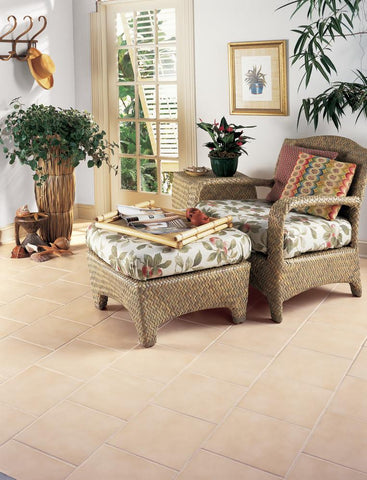light variation square vail 12x12 tiles on floor in living room wicker chair and floral cushion