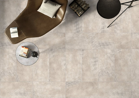 ivory color tile floow pictured from above with leather chair and table