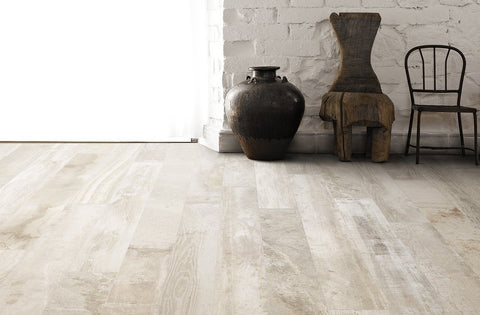 floor tile with wood grain with white stone wall and vase