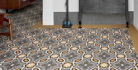 Honeycomb patterned tile floor with brown border
