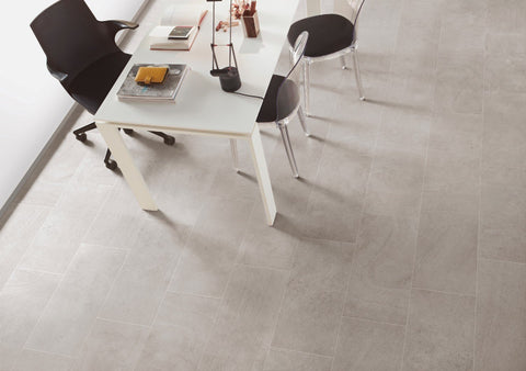Roman Gray tiles on floor with work table