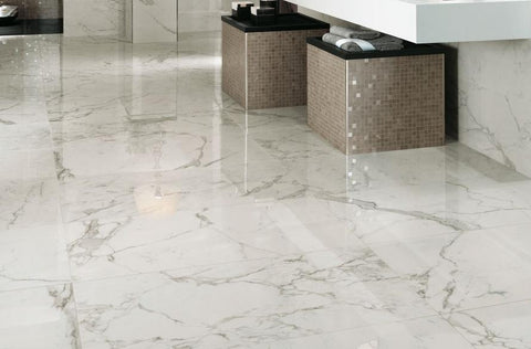 calacatta Extra Lappato marble tile on bathroom floor