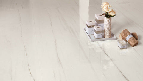 bianco dolomite white tile with products and white roses