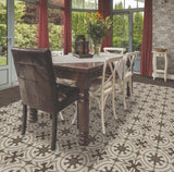 cool circolo pattern with basalto border in dining room