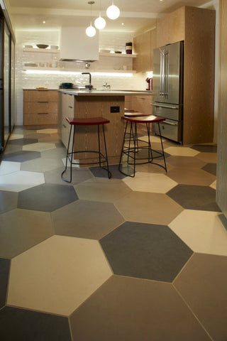hexagon tile with a mix of ivory, taupe, ash grey, and grey in modern kitchen.