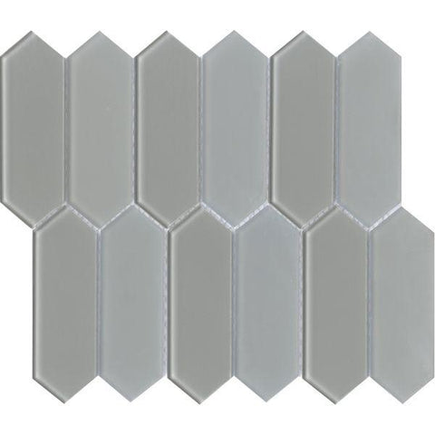 Light grey elongated hexagon picket mosaic sheet from Charisma collection.