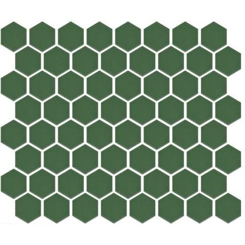 "Matte Green SXG-G 1-1/2"" hexagon porcelain mosaic full sheet."
