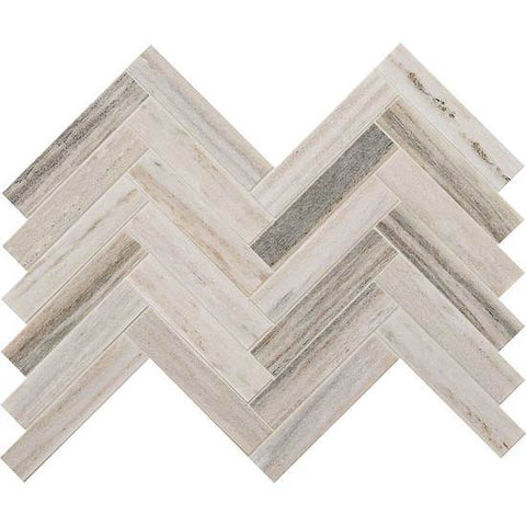 Natural-looking, horizon, chevron mosaic tile sample over white background