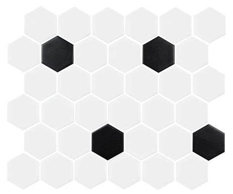 "Pictured: 2"" Hexagon White with Black."