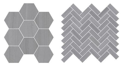 Hexagon and herringbone mosaics in current detail up close