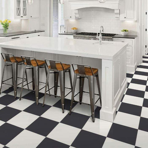 Paros porcelain checkerboard kitchen floor black and white