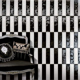 Black and white handmade look wall tile alternating pattern
