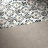 Reverie 8 tile and gris close up on a floor