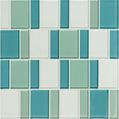 Close up sea-colored mosaic tiles