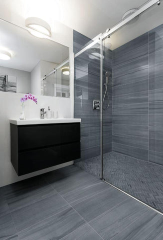 Vortex 12x24 tile on floor, herringbone mosaic in shower pan, 9x36 on walls in walk in shower