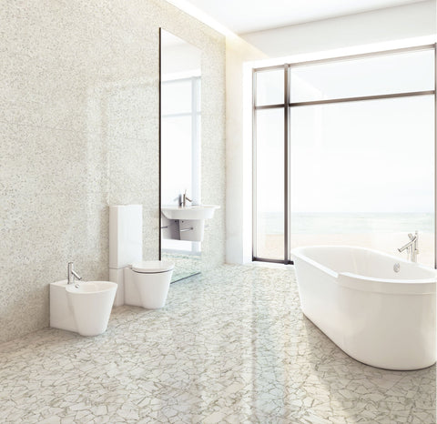 palladio tile on floor, bianco tiles on wall in bright, white, modern bathroom