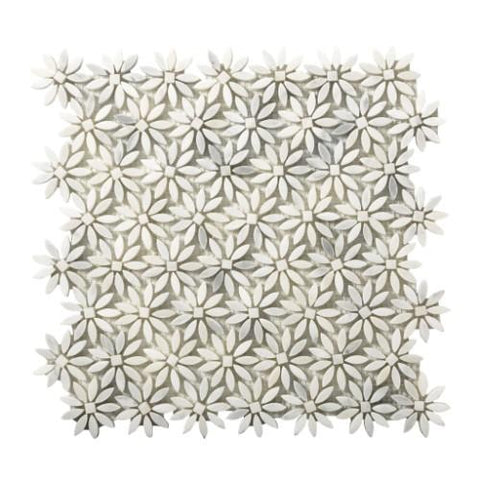 Daisy shapped mosaic tiles in white
