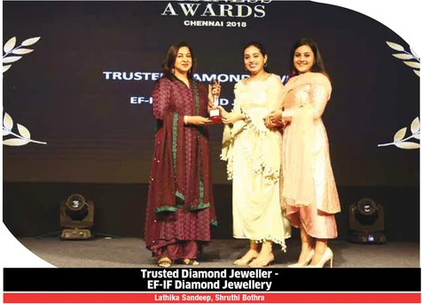 Trusted Diamond Jeweller Award - Times Business Awards, Chennai 2018
