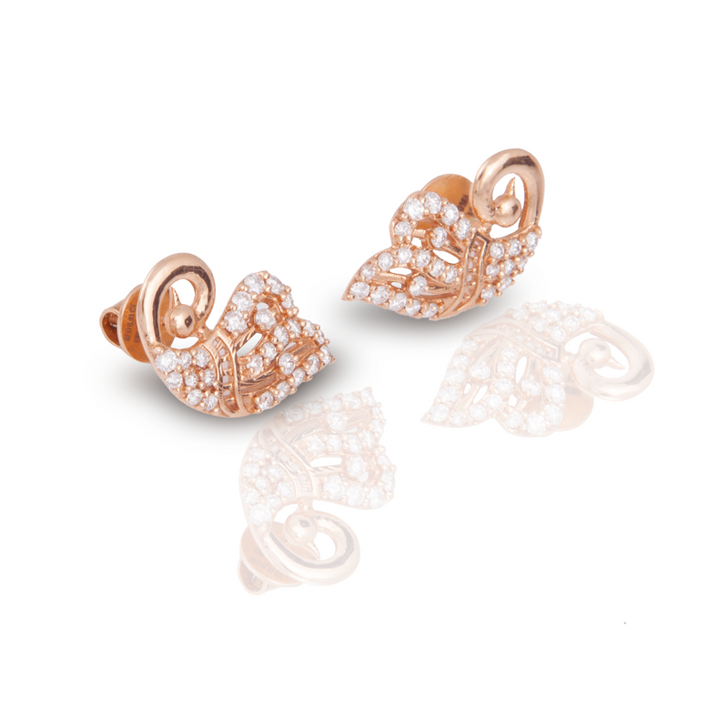 The Peacock Inspired 18k Rose Gold Diamond Studs