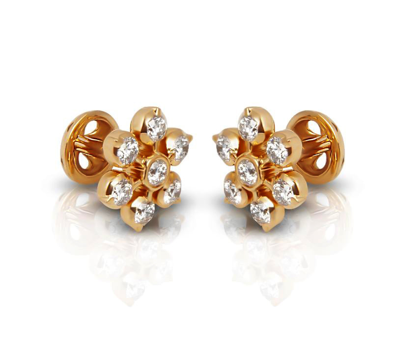 The Amritha  Closed Setting 22k Diamond Stud