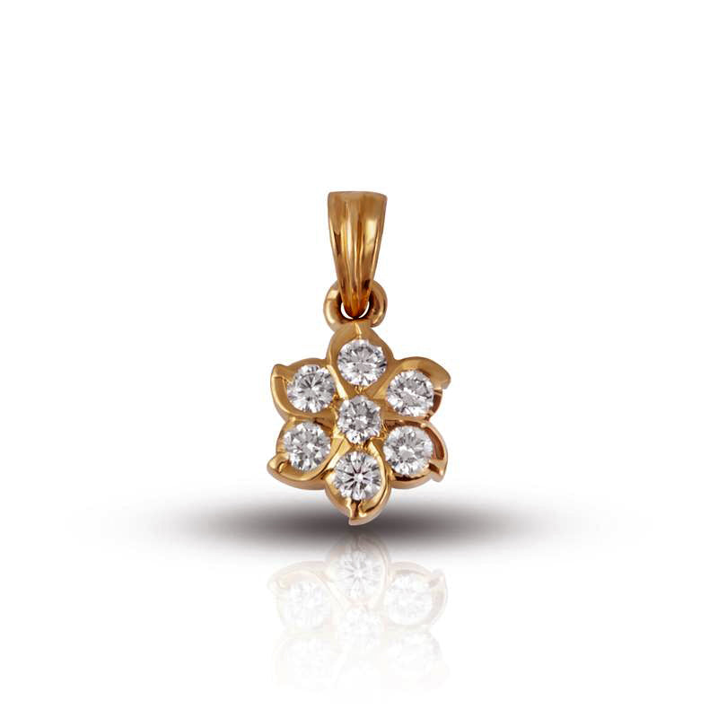22K Yellow Gold Traditional Floral Pendant