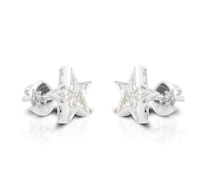 Star Studded White Gold Diamond Earrings