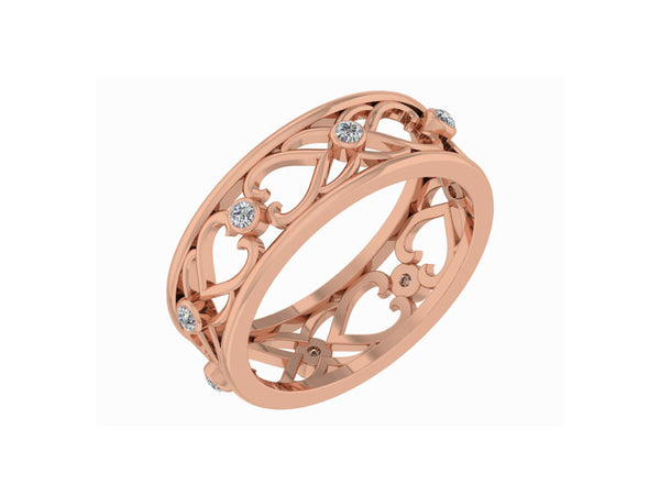CONTEMPORARY ROSE GOLD HEARTS RING