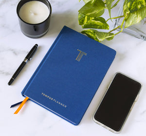 tempus planner daily journal planner blue cover cloth