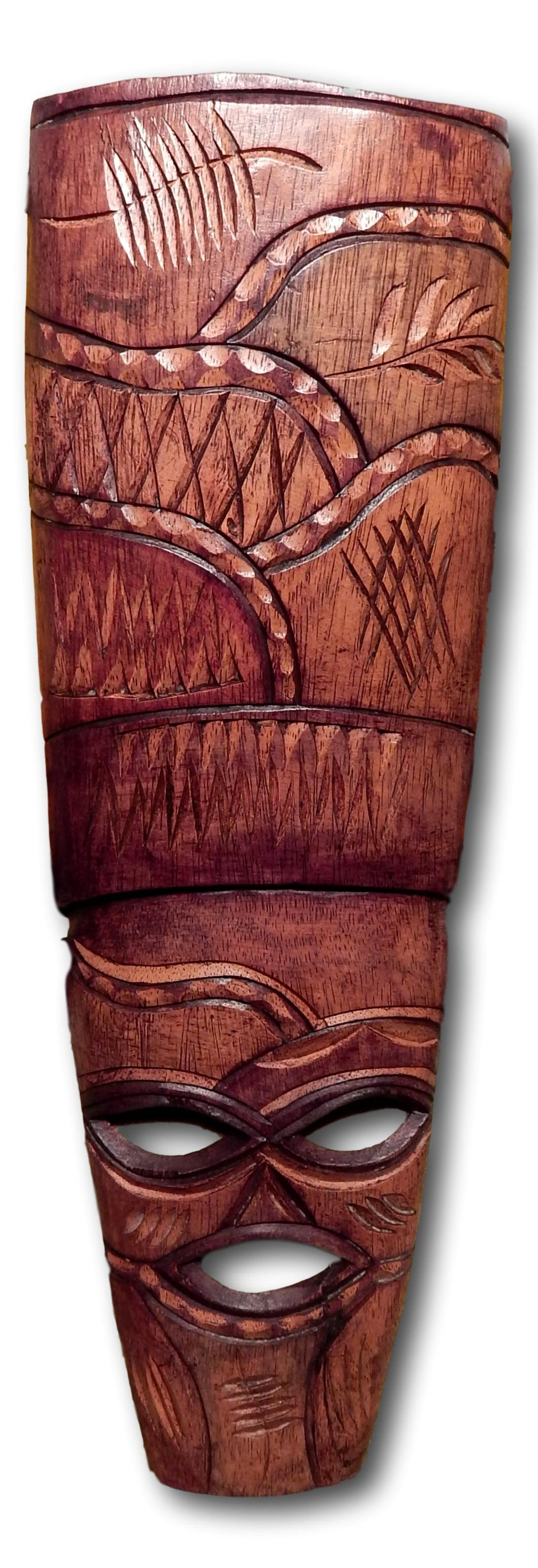 Mask hand carved art from Mukwa wood