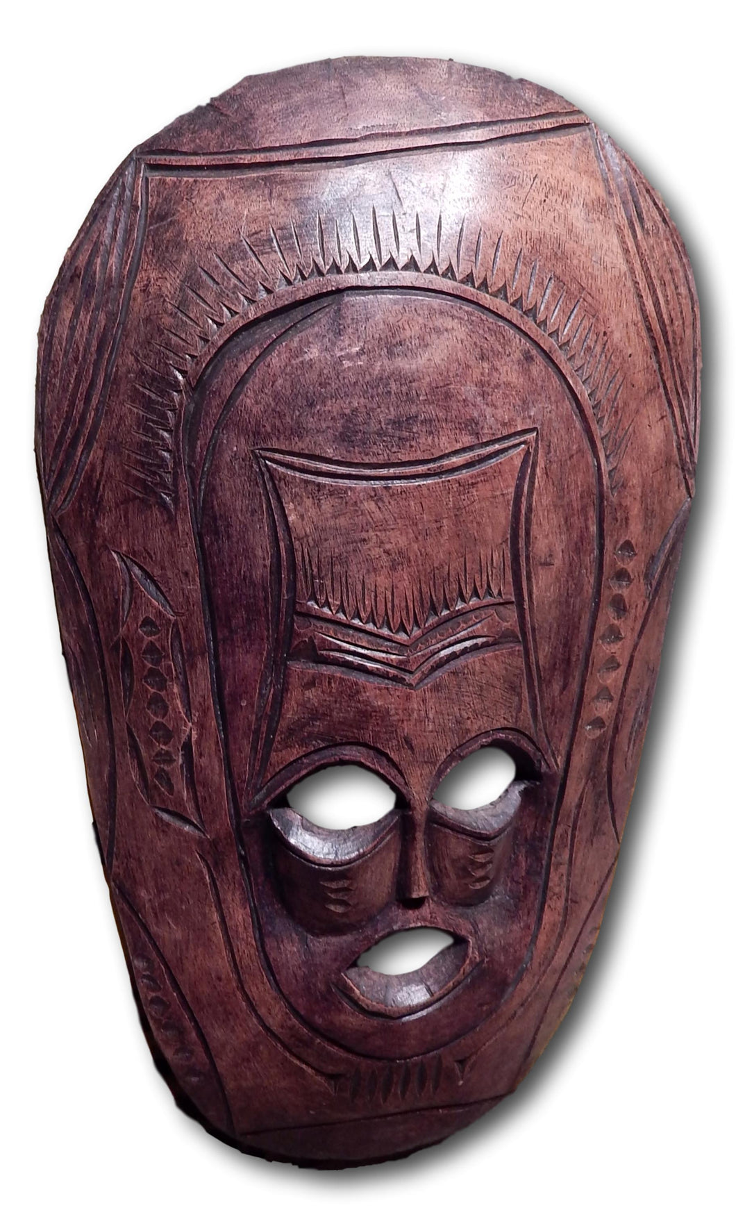 Mask art decoration handcrafted from Mukwa wood