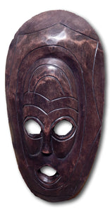 Mask art decoration hand carved from Mukwa wood